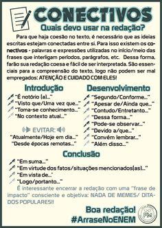 Sugestões de conectivos para uma boa redação no ENEM. #ArraseNoENEM #ConteúdosFM