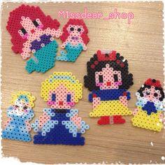 Disney Princess (Ariel, Cinderella, Snow White) perler beads by missdear_shop