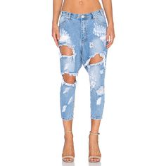 One Teaspoon Kingpins Denim ($83) ❤ liked on Polyvore featuring jeans, blue jeans, destructed jeans, destroyed jeans, one teaspoon and torn jeans