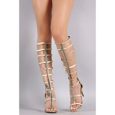Anne Michelle Metallic Ornament Elasticized Gladiator Heel ($63) via Polyvore featuring shoes, anne michelle, stiletto high heel shoes, gladiator stilettos, gladiator shoes and metallic shoes