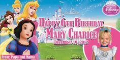 Birthday Tarpaulin Disney Princesses Theme Template