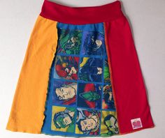 Super Hero - Upcycled T-SKIRT  - Upcycled Blue super t-shirt  - Solid Red  - Solid Gold  - Solid Purple  - Womans size Small  - One of a kind
