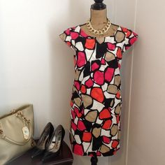 """Kim Roger Dress Very bright popping colors! KimRogers dress. Size 14P. Cap sleeves. Zips up back. Length is apprx 34.5"""" long. Bust is apprx 41"""". Kim Rogers Dresses Midi"""