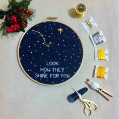 Shop for embroidery on Etsy, the place to express your creativity through the buying and selling of handmade and vintage goods. Basic Embroidery Stitches, Hand Embroidery Patterns, Diy Embroidery, Cross Stitch Embroidery, Embroidery Designs, Big Dipper, Needlework, Just For You, Original Art