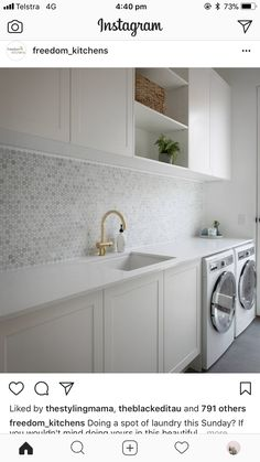 modern laundry room design, modern laundry room organization, laundry room cabinets with sink and open shelves and tile floor, laundry in mudroom design Laundry Room Cabinets, Laundry Room Organization, Laundry In Bathroom, Laundry Closet, Diy Cabinets, Laundry Storage, Shaker Cabinets, Bathroom Cabinets, Laundry Nook