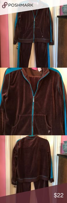 """Velour jogging set Chocolate brown velour jacket and pants with turquoise accents. So warm, but lightweight. Zip closure with rhinestone pull tab. One stone is missing, but not noticeable and can easily be replaced and glued in place. Cute front pockets and stretch waistband. I took the drawstring out, because it fits fine without. Excellent condition, worn a couple of times. Length of jacket is 24"""", and chest is 22"""". Cappagallo Sport Jackets & Coats"""