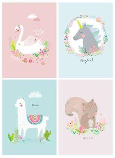 Cute illustration with unicorn and lama Unicorn Art, Art And Illustration, Unicorn Illustration, Alpacas, Postcard Design, Jolie Photo, Grafik Design, Cute Drawings, Cute Wallpapers