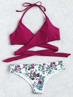 Shop Floral Halter Wrap Knotted Back Bikini Set online. SheIn offers Floral Halter Wrap Knotted Back Bikini Set & more to fit your fashionable needs.