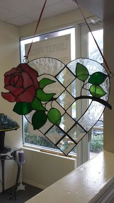 Rose Window Suncatcher Heart Shaped Large by StainedGlassbyJean Stained Glass Ornaments, Stained Glass Suncatchers, Stained Glass Flowers, Faux Stained Glass, Stained Glass Designs, Stained Glass Panels, Stained Glass Projects, Stained Glass Patterns, Rose Window