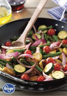 Bring fresh flavor to your dinner menu with this recipe from Inspired Gathering for Stir Fried Grilled Summer Vegetables! Red onion, zucchini, asparagus, yellow squash, and cherry tomatoes mingle with simple spices and seasonings to create this delicious side dish.