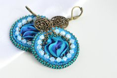 Shibori earrings with glass beads and glass rocail, teal and blue colour