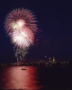 Fourth of July fireworks over Lake Erie at Edgewater Park  Cleveland, OH