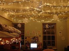 Hang Christmas Lights up all over the ceiling to add a soothing atmosphere!! Must do all year round!! by kaitlin