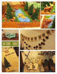 CAMPING PARTY THEME- Great decor, pinecones, old boots etc. This also has a nature hunt too! That'd be fun!
