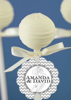 12 Cake Pop Tags, Sucker Tags, Wedding, Bridal Shower, Grey, Chevron Bride & Groom. $8.95, via Etsy.