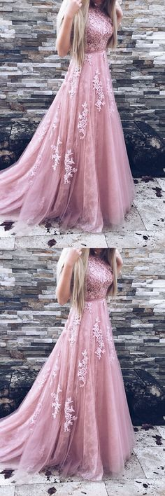 A-Line Crew Sweep Train Pink Tulle Prom Dress with Appliques Sash #prom #dresses #longpromdress #promdress #eveningdress #promdresses #partydresses #2018promdresses #pinktullepromdresses