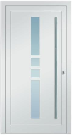 Eingangstüre ZIBAL 2 mit Edelstahlstangengriff und Glasausschnitt! Farbe in RAL 9016 verkehrsweiß. Jetzt bei Fenster-Schmidinger aus Gramastetten erhältlich!
