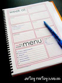 Free Printable Weekly Menu Planner Pages (8 colors!) at artsyfartsymama.com #freeprintable