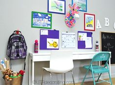 Tips to create a comfortable and fun study space in your home for young kids to do their homework. Kids Study Spaces, Narrow Table, Faux Taxidermy, Dorm Rooms, Office Desk, Corner Desk, Innovation, Homework, Children