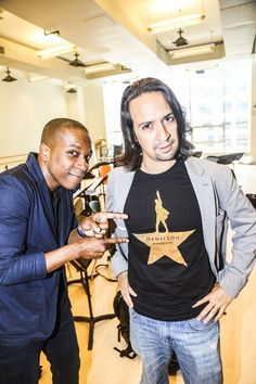 Leslie Odom Jr. and Lin-Manuel Miranda in rehearsal for HAMILTON
