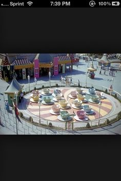 I loved the teacup ride as a kid. Apparently it is still popular with children since it is still there