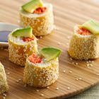 Salmon Crescent Sushi Rolls are a creative take on a traditional Japanese fish dish. Pillsbury Crescent Recipe Creations provide a clever alternative to seaweed wraps.