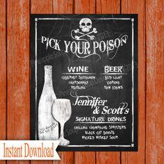 Halloween Wedding DRINK MENU Sign Printable File  by PSPrintables