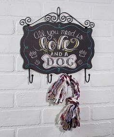 Love this 'Love and a Dog' Wall-Mounted Hooks by Ohio Wholesale, Inc. on #zulily! #zulilyfinds