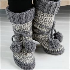 Ravelry: North Woods Slipper Boots DROPS design- free crochet pattern