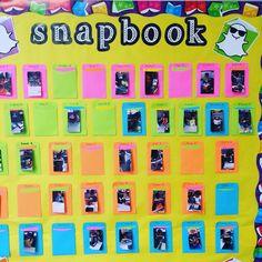 """snap-book"" display"