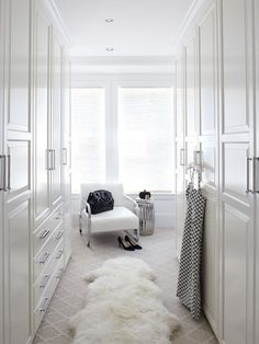 """Ikea Pax Wardrobe for a Transitional Closet with a Sheep Skin Rug and """"Old Town"""" Sausalito, CA by Urrutia Design Ikea Pax Wardrobe, Ikea Closet, Walk In Wardrobe, Room Closet, Wardrobe Design, Apartment Interior Design, Modern Interior Design, Home Design, Design Ideas"""