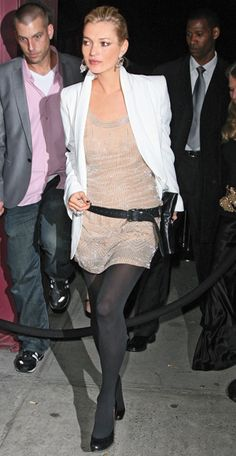 Moss dazzles in a beaded peach Kate Moss Topshop Collection dress to fête Topshop's Manhattan arrival.