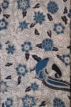 Block printed Cotton fabric with Kalamkari print Kalamkari Designs, Silk Fabric, Printed Cotton, Artwork, Prints, Collection, Fabrics, Ideas, Flowers