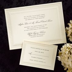 A filigree border adds an elegant touch to this horizontal, ecru invitation card. This invitation is part of the Royal Collection, printed on 100% pure cotton content, watermarked papers.