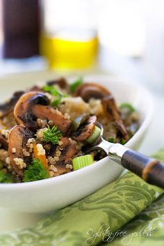 Quinoa pilaf with mushrooms and spring onions--  easy to make. #glutenfree :  This one has Greek seasonings :-)