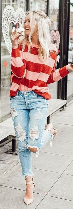 #spring #outfits red and pink striped long-sleeved shirt. Pic by @karlierae
