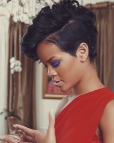 Rhianna with short side back, longer top - faux mohawk.