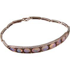 Art Deco Vivid Opals Bracelet in Sterling Silver
