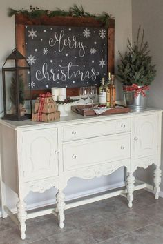 Create a cozy Christmas kitchen wine nook with some simple rustic decor! - Create a cozy Christmas kitchen wine nook with some simple rustic decor!