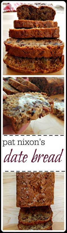 """Unless you've tasted a really good date nut bread you might not """"get it"""". Here's the best, Pat Nixon's recipe published in Hints for Heloise in 1961. It makes 2 loaves, 1 to eat & 1 to share or freeze."""