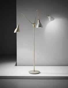 ARREDOLUCE Rare three-armed adjustable standard lamp , circa 1950
