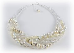 Chunky Crystal and Pearl Twisted Bridal by KimberlysEtsyJewelry