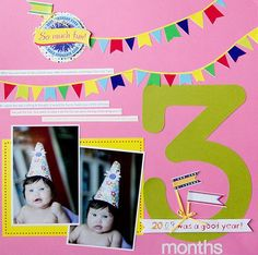 Cakes and Candles Photo Album Accents Scrapbooking Layout Idea from Creative Memories #scrapbooking