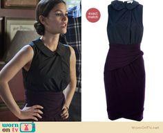 Zoe's purple and black peter pan collar wrap dress on Hart of Dixie.  Outfit Details: https://wornontv.net/10820/ #HartofDixie