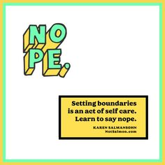 Set #boundaries. Say NOPE.  Here's an #inspirational article on this subject! Be Kind To Yourself, Improve Yourself, Boundaries Quotes, How To Cure Anxiety, Relaxation Techniques, Pep Talks, Recorded Books, Feeling Down, Self Love Quotes