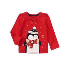 d89daef20 Gymboree Girls Christmas Top 2t Penguin Long Sleeve Holiday Shop New kg1