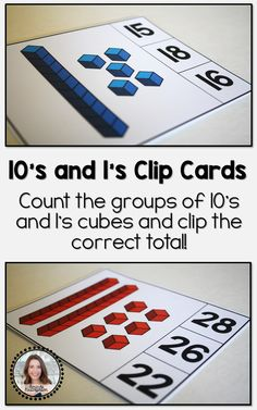 Practice working with number cubes and 10's and 1's groupings with these fun count and clip cards! Numbers 11-30 are represented with number cubes on this set of cards. Students can use a clothes pin or clip to select the correct number for each group of cubes.