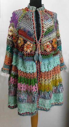 S u p e r  offer! Crochet Hippie Jacket, 70s style,old lace and effektive Details, Slow fashion, Exclusive dress, Frida Kahlo clothing
