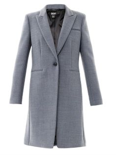 This grey single-breasted coat has peaked lapels, a single-button front fastening and long sleeves with a buttoned cuff detail it has a chest pocket and two front pockets and a single back vent.