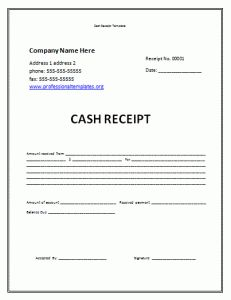 Cash Receipt Template Receipt Template Invoice Template Word